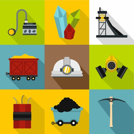 Colliery icons set, flat style Illustration