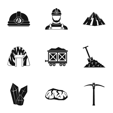Colliery icons set, simple style