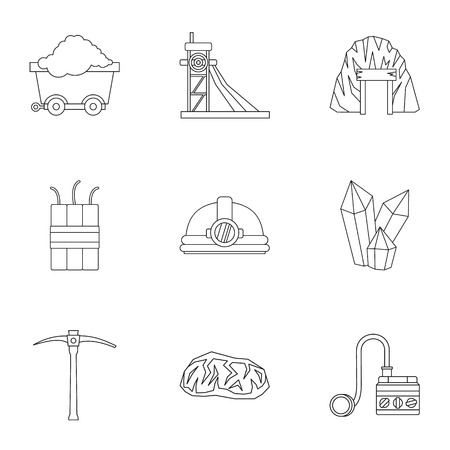 Colliery Icons set, outline Stil