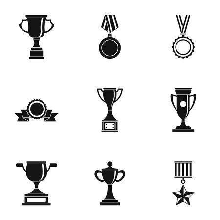 rewarding: Rewarding icons set, simple style Illustration
