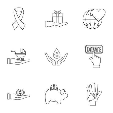 patronage: Patronage icons set, outline style
