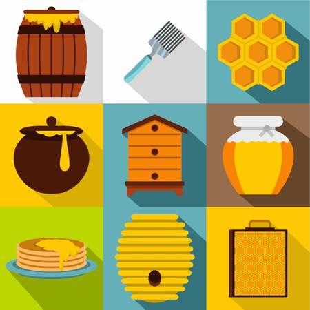 Honey icons set, flat style Illustration