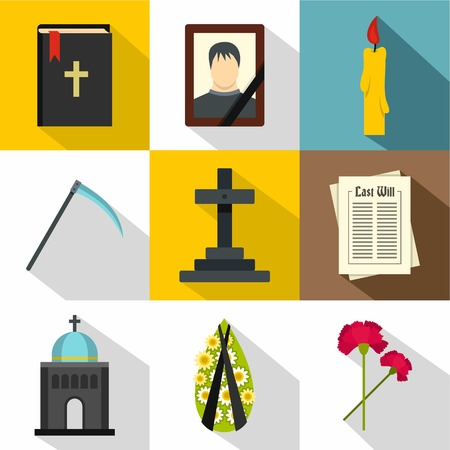 cadaver: Death of person icons set, flat style