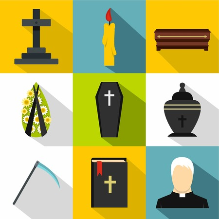 fatality: Burial icons set, flat style