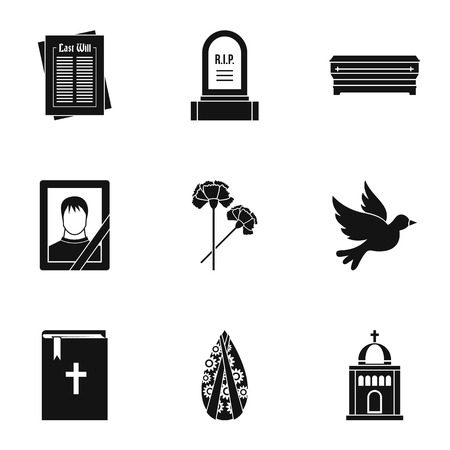 cadaver: Death icons set, simple style