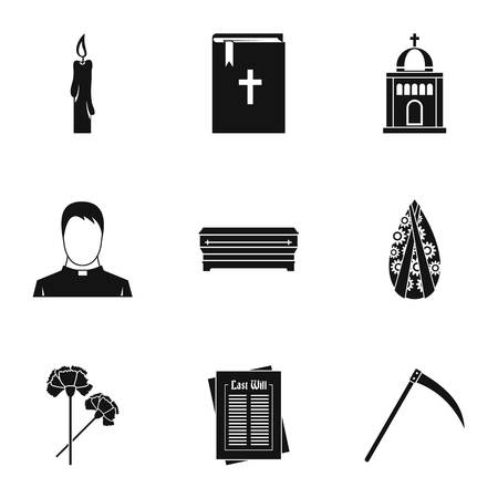 fatality: Funeral services icons set, simple style