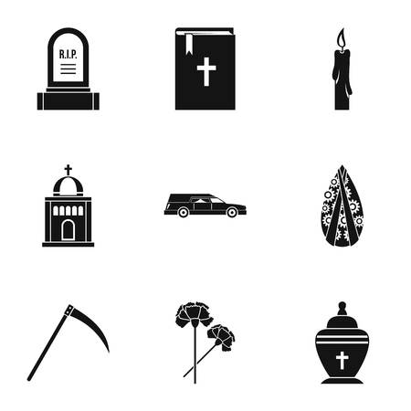 fatality: Funeral icons set, simple style