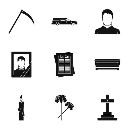 lifeless: Burial icons set, simple style