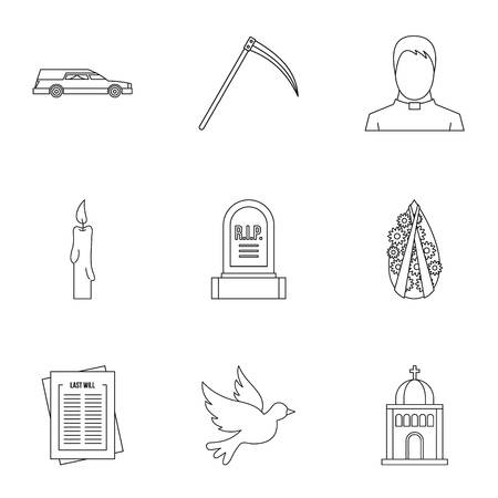 fatality: Burial icons set, outline style