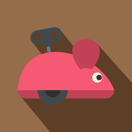 prankster: Clockwork mouse icon, flat style Illustration