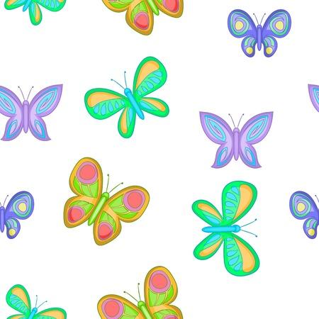 ful: Types of butterflies pattern, cartoon style Illustration