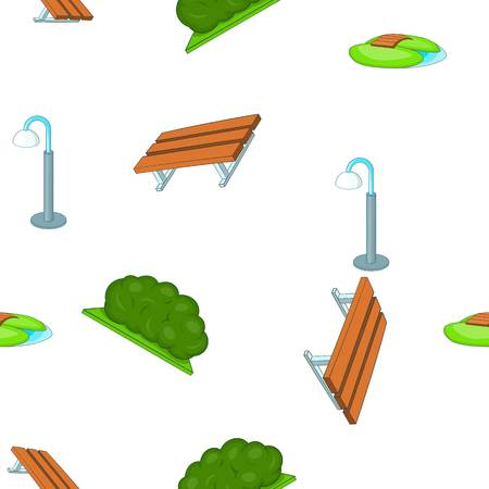 Park equipment pattern, cartoon style
