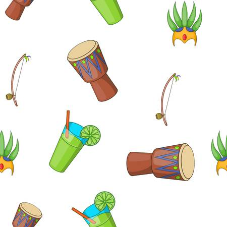Attractions of Brazil pattern, cartoon style