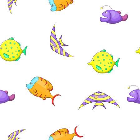 Marine fish pattern, cartoon style