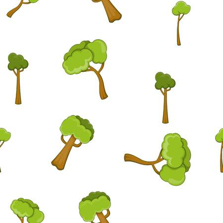 vista: Types of trees pattern, cartoon style