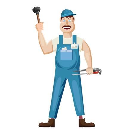 Icona dell'idraulico, stile cartoon