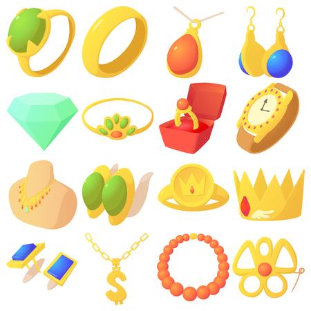 Jewelry items icons set, cartoon style Vector Illustration