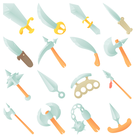 Steel arms items icons set, cartoon style