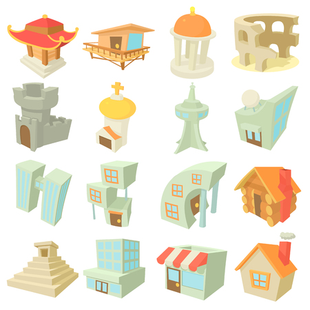 Ensemble d'icônes d'architecture différente, style de dessin animé
