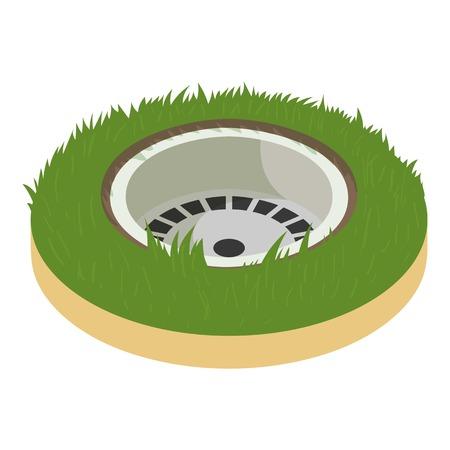 Golf hole icon, cartoon style