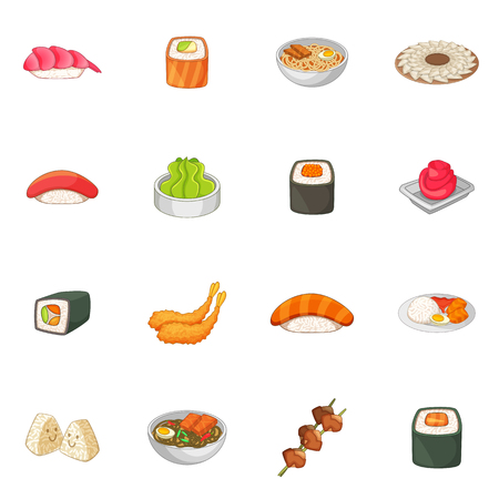 Japanese food icons set, cartoon style