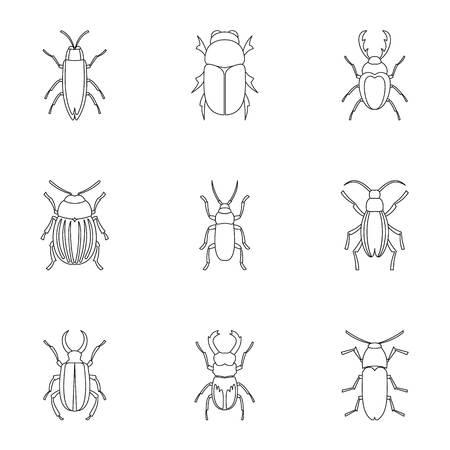 species: Species of beetles icons set, outline style