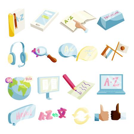 Translator symbols icons set, cartoon style Illustration