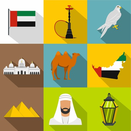 Stay in UAE icons set, flat style Illustration