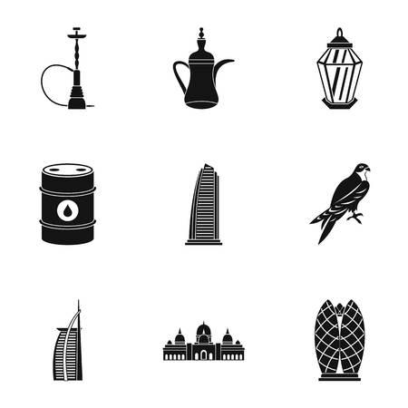 Emiratos Árabes Unidos conjunto de iconos, estilo simple