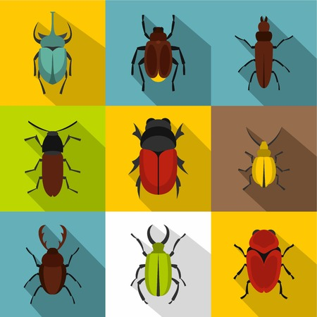 Species of beetles icons set, flat style
