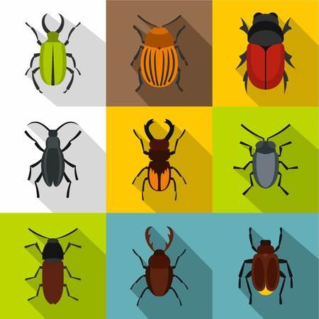 Order coleoptera icons set, flat style