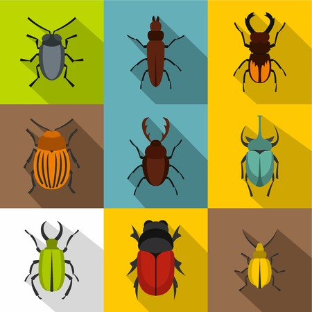 Crawling beetles icons set, flat style Illustration