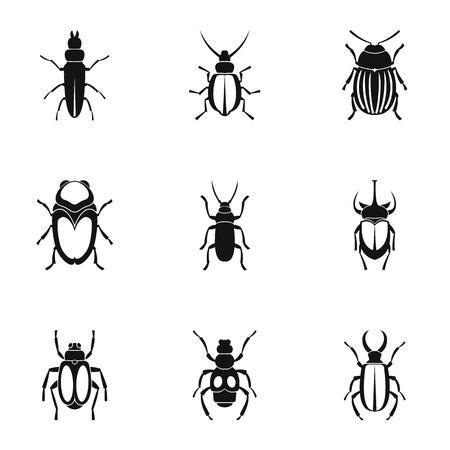 species: Species of beetles icons set, simple style Illustration