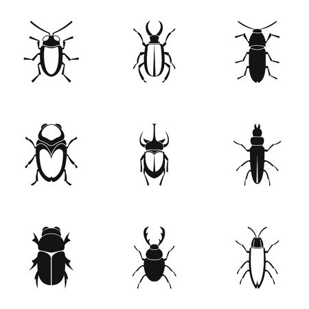 Insects beetles icons set, simple style