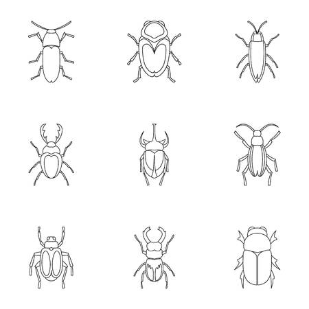 pincers: Crawling beetles icons set, outline style