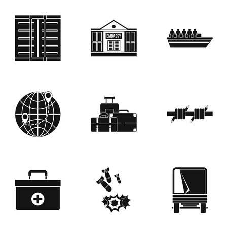 status: Refugee status icons set, simple style
