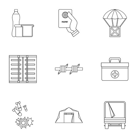 status: Refugee status icons set, outline style