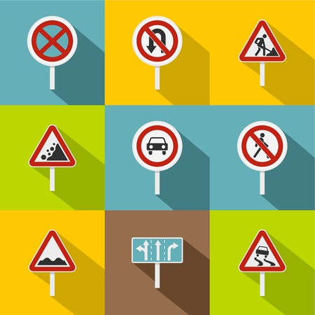 uturn: Sign icons set, flat style