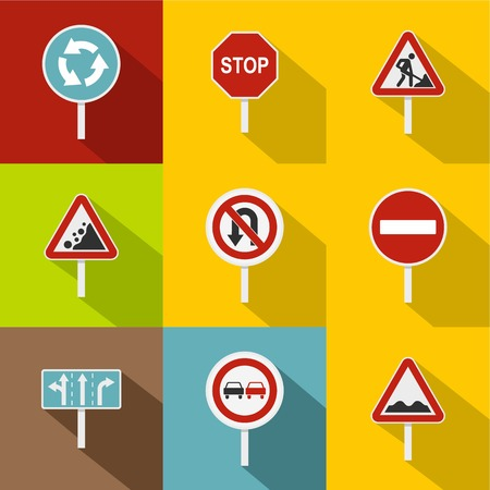 Traffic sign icons set, flat style