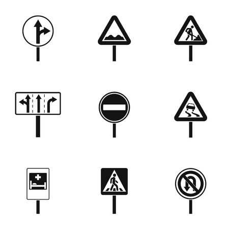 parking is prohibited: Sign icons set, simple style Illustration