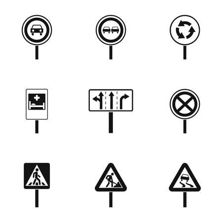Traffic sign icons set, simple style Illustration