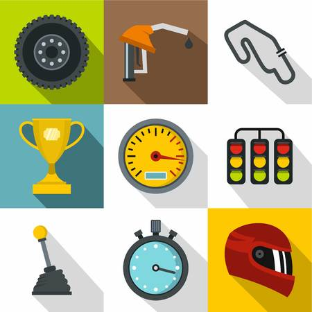 Race cars icons set, flat style Illustration