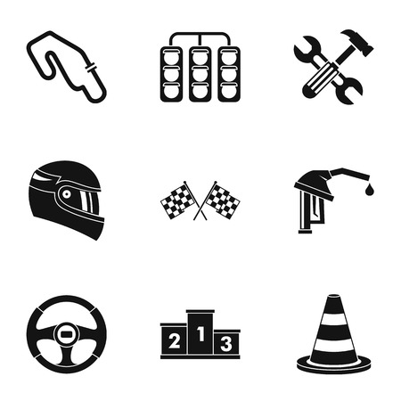 Machine race icons set, simple style