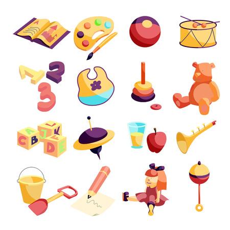 Kindergarten items icons set, carftoon style