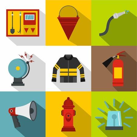 fiery: Fiery profession icons set, flat style