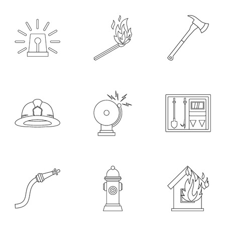 fiery: Fiery profession icons set, outline style