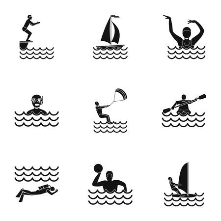 Water verblijf pictogrammen instellen, eenvoudige stijl Stockfoto - 70449077