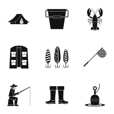 fisheries: Fishing icons set, simple style