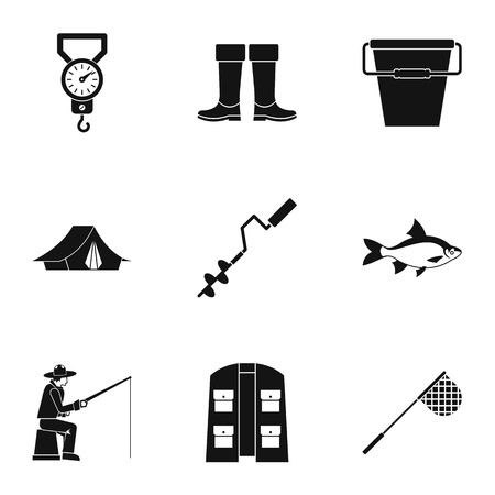 angling: Angling icons set, simple style