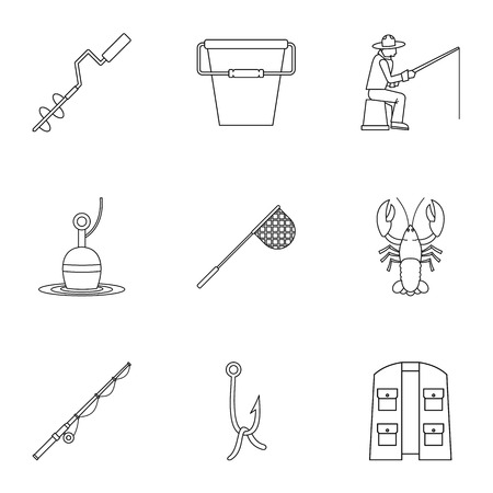 angling: Angling icons set, outline style Illustration